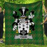 1sttheworld Premium Quilt - Tighe Or O'Teague Irish Family Crest Quilt - Irish National Tartan A7