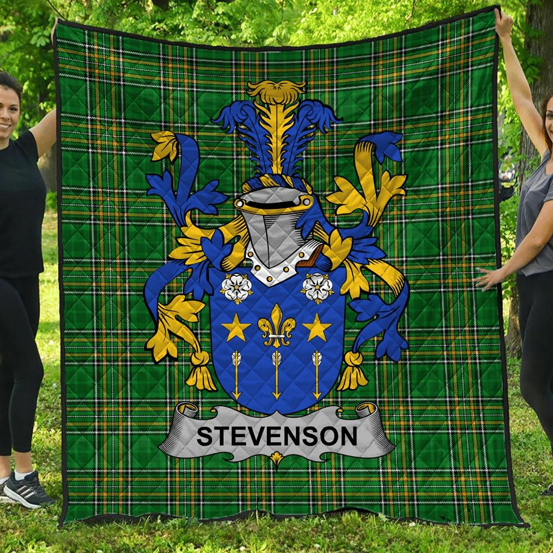 1sttheworld Premium Quilt - Stevenson Irish Family Crest Quilt - Irish National Tartan A7