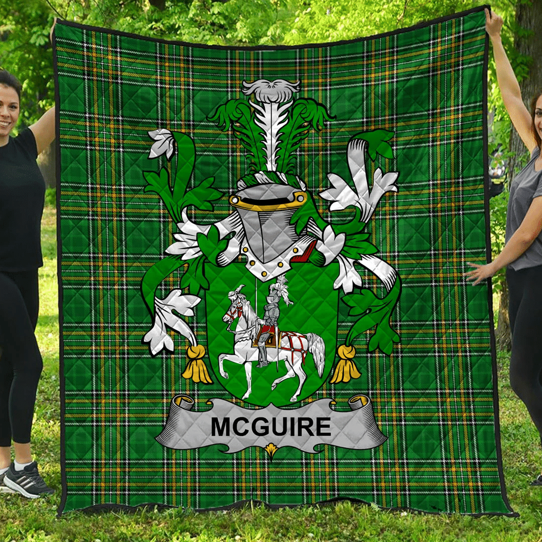 1sttheworld Premium Quilt - Mcguire And Maguire Irish Family Crest Quilt - Irish National Tartan A7