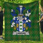 1sttheworld Premium Quilt - Lanigan Or O'Lenigan Irish Family Crest Quilt - Irish National Tartan A7
