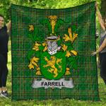1sttheworld Premium Quilt - Farrell Or O'Ferrell Irish Family Crest Quilt - Irish National Tartan A7