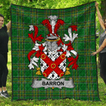 1sttheworld Premium Quilt - Barron Irish Family Crest Quilt - Irish National Tartan A7