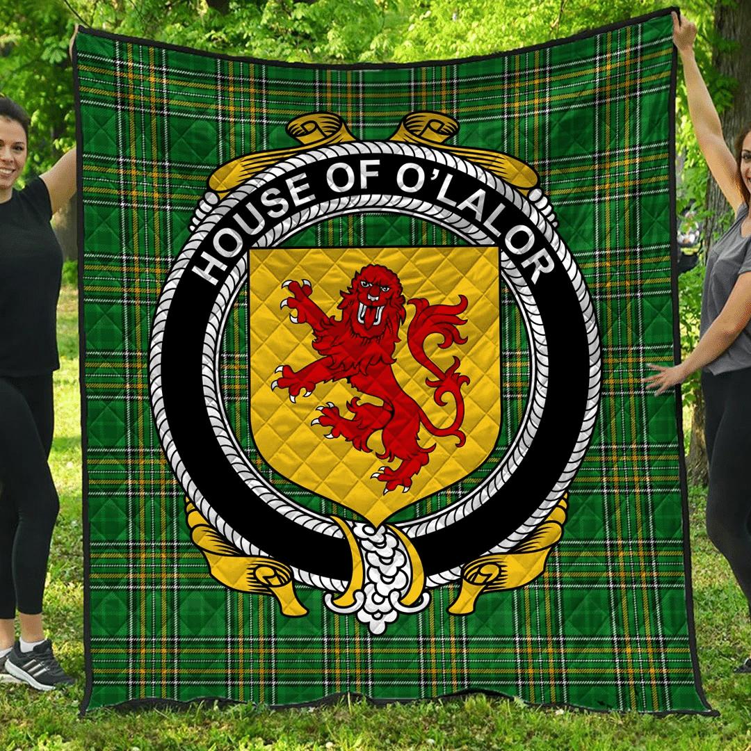 1sttheworld Premium Quilt - House Of O'Lalor Irish Family Crest Quilt - Irish National Tartan A7