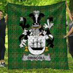 1sttheworld Premium Quilt - Driscoll Or O'Driscoll Irish Family Crest Quilt - Irish National Tartan A7