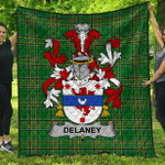 1sttheworld Premium Quilt - Delaney Or O'Delany Irish Family Crest Quilt - Irish National Tartan A7