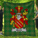 1sttheworld Premium Quilt - Miles Or Moyles Irish Family Crest Quilt - Irish National Tartan A7