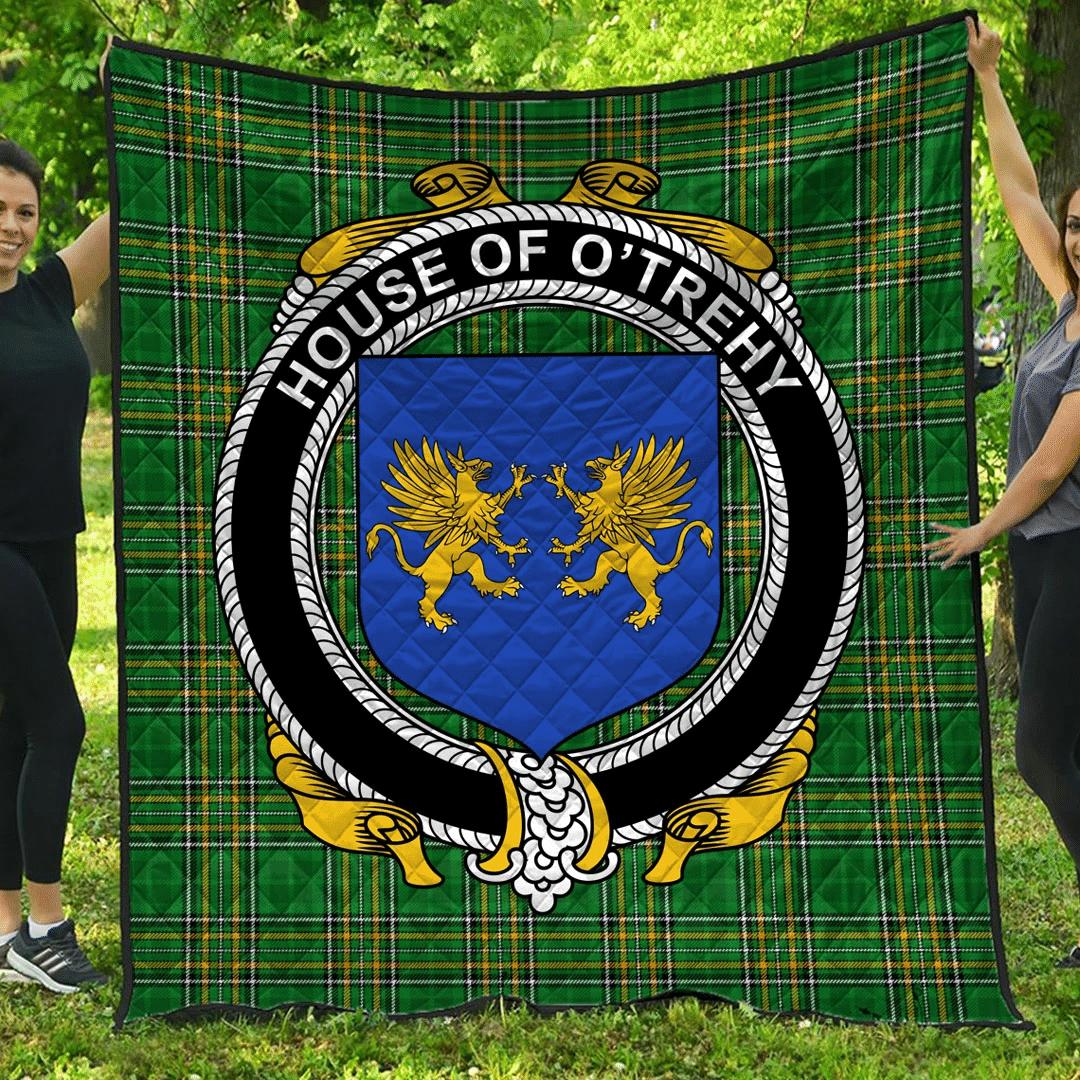 1sttheworld Premium Quilt - House Of O'Trehy (Troy) Irish Family Crest Quilt - Irish National Tartan A7