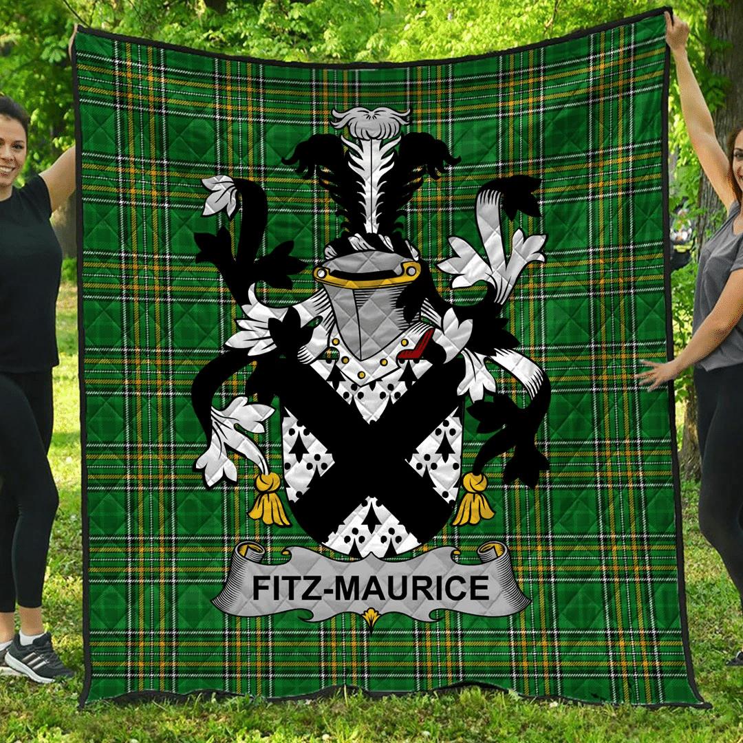 1sttheworld Premium Quilt - Fitz-Maurice Irish Family Crest Quilt - Irish National Tartan A7