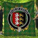 1sttheworld Premium Quilt - House Of O'Grady Irish Family Crest Quilt - Irish National Tartan A7