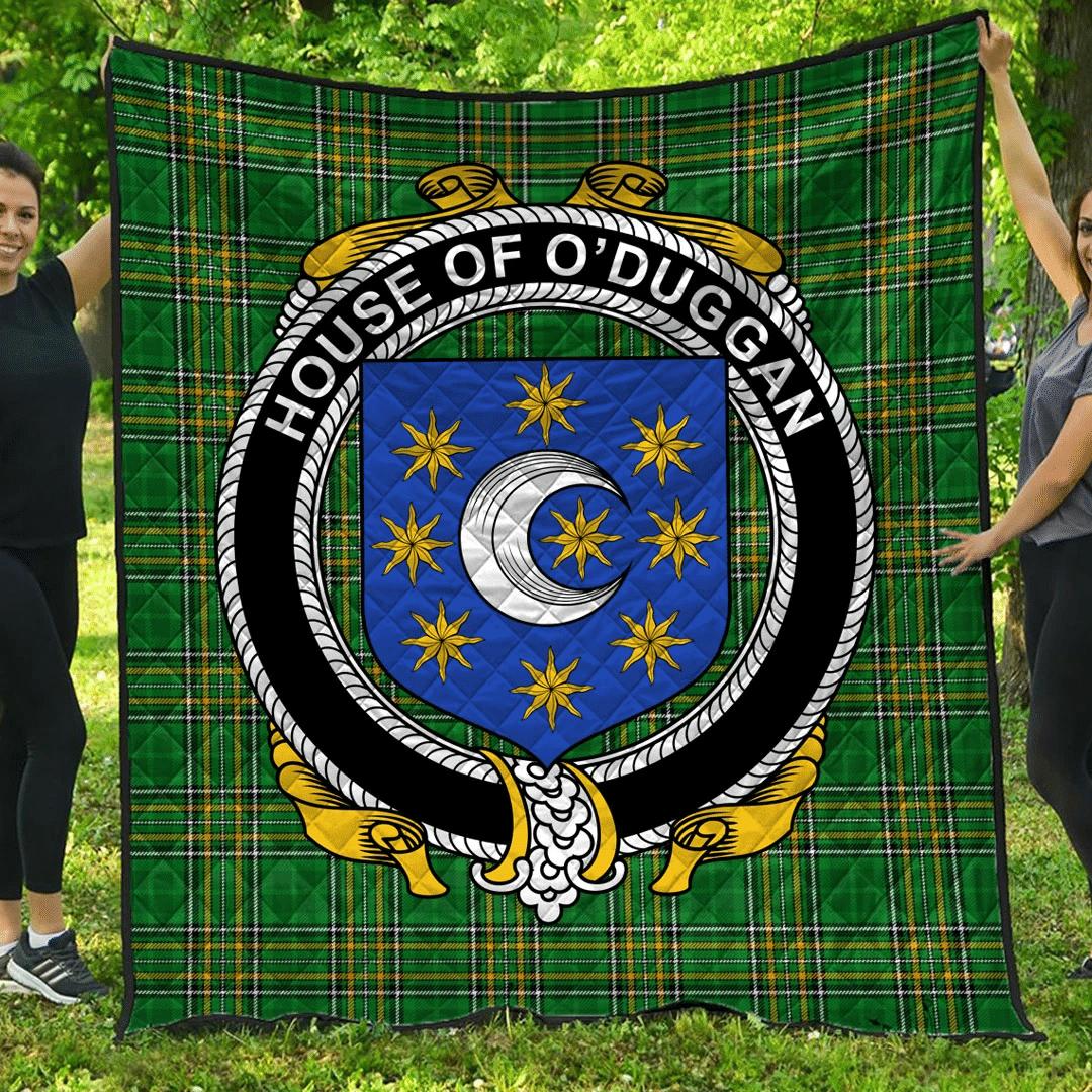 1sttheworld Premium Quilt - House Of O'Duggan Irish Family Crest Quilt - Irish National Tartan A7