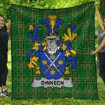 1sttheworld Premium Quilt - Dinneen Or O'Dinneen Irish Family Crest Quilt - Irish National Tartan A7