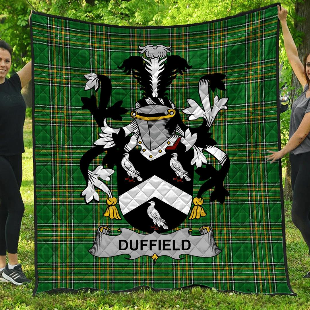 1sttheworld Premium Quilt - Duffield Irish Family Crest Quilt - Irish National Tartan A7