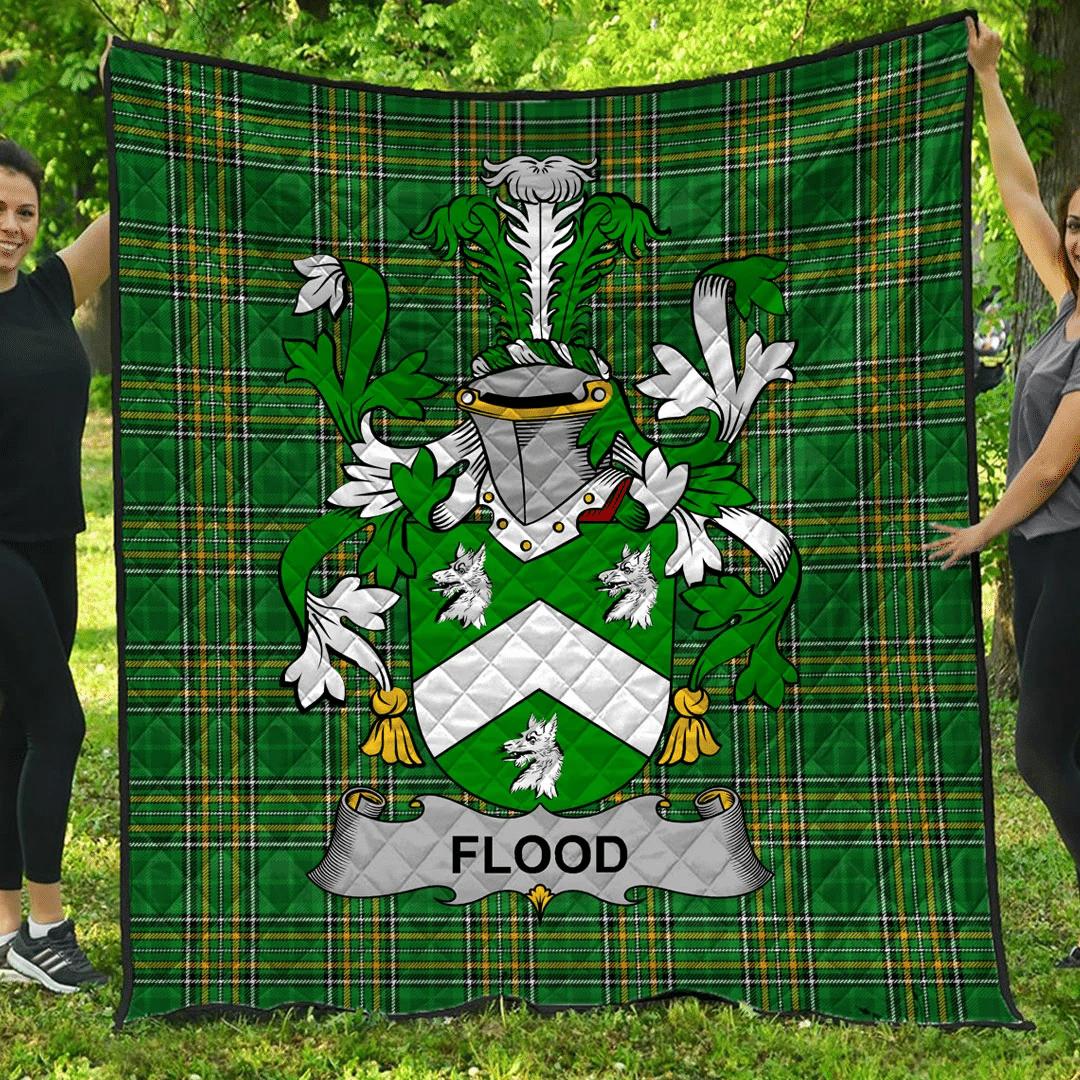 1sttheworld Premium Quilt - Flood Irish Family Crest Quilt - Irish National Tartan A7