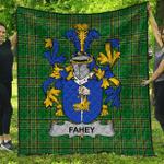 1sttheworld Premium Quilt - Fahey Or O'Fahy Irish Family Crest Quilt - Irish National Tartan A7