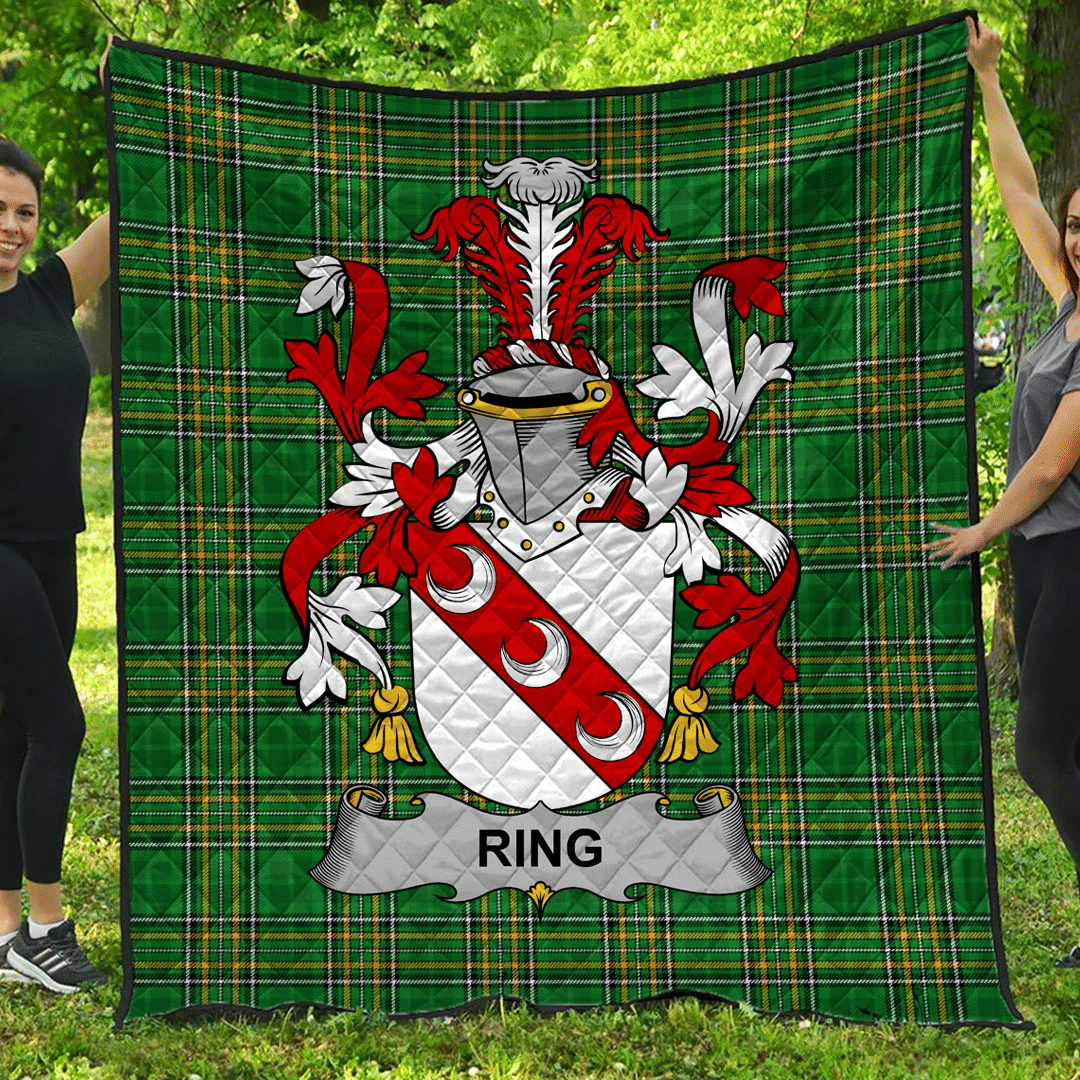 1sttheworld Premium Quilt - Ring Or O'Ring Irish Family Crest Quilt - Irish National Tartan A7