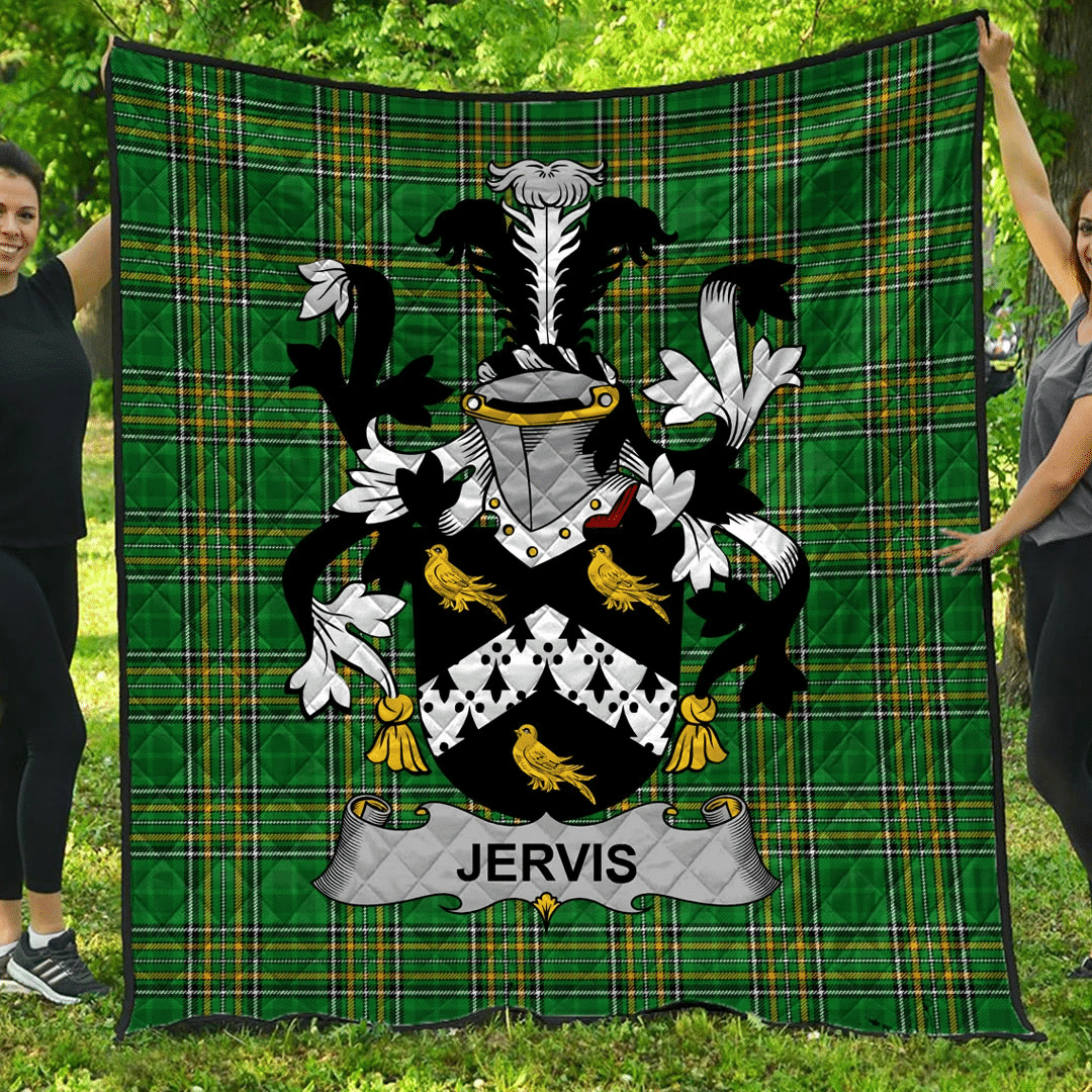 1sttheworld Premium Quilt - Jervis Or Jarvis Irish Family Crest Quilt - Irish National Tartan A7