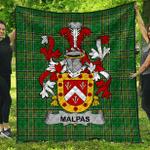 1sttheworld Premium Quilt - Malpas Irish Family Crest Quilt - Irish National Tartan A7