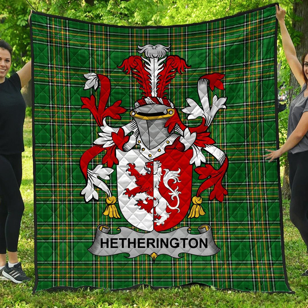 1sttheworld Premium Quilt - Hetherington Irish Family Crest Quilt - Irish National Tartan A7