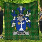 1sttheworld Premium Quilt - Martin Irish Family Crest Quilt - Irish National Tartan A7
