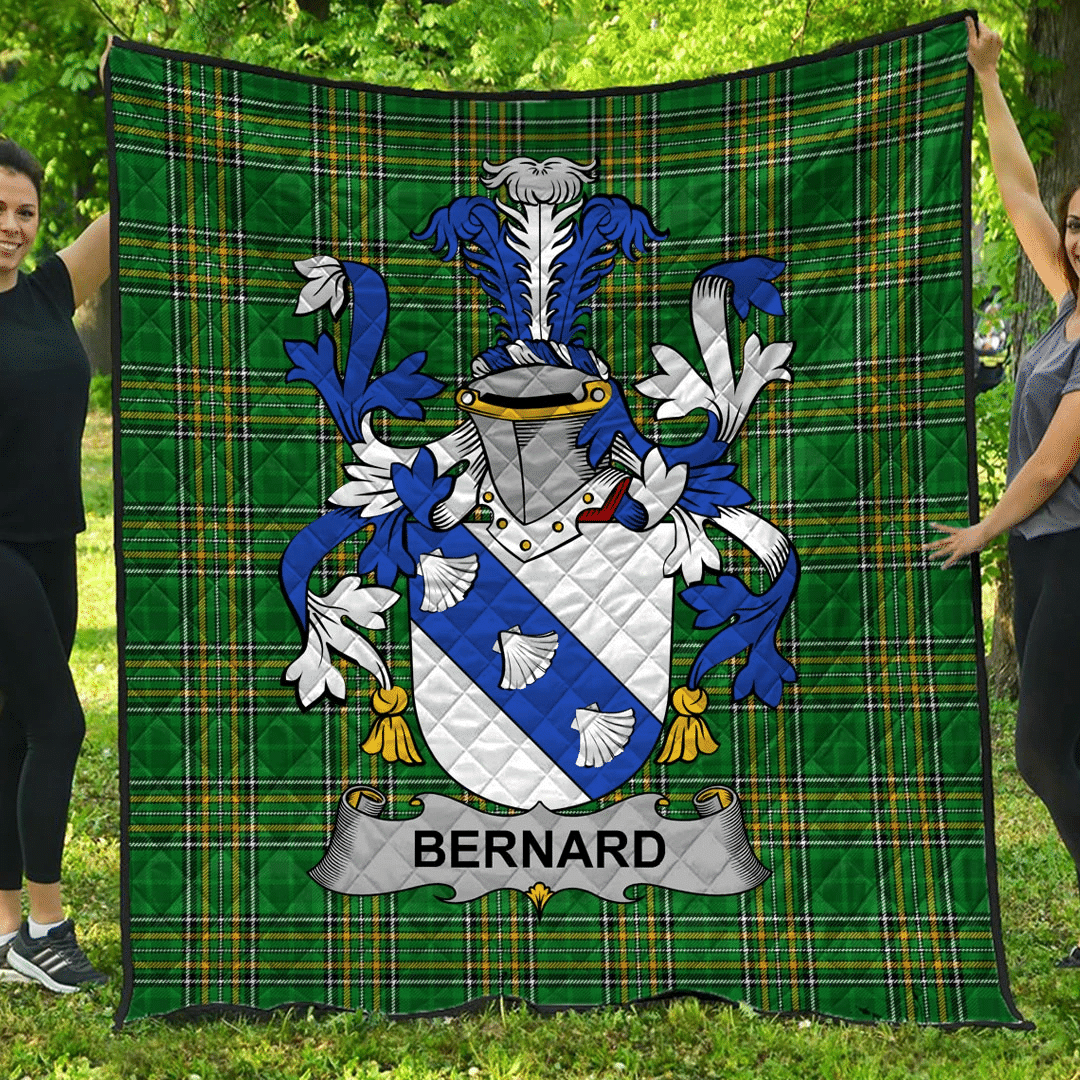 1sttheworld Premium Quilt - Bernard Irish Family Crest Quilt - Irish National Tartan A7