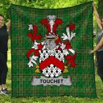 1sttheworld Premium Quilt - Touchet Irish Family Crest Quilt - Irish National Tartan A7