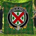 1sttheworld Premium Quilt - House Of Keating Irish Family Crest Quilt - Irish National Tartan A7