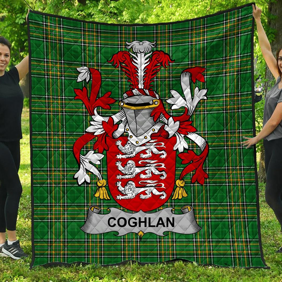 1sttheworld Premium Quilt - Coghlan Or Mccoghlan Irish Family Crest Quilt - Irish National Tartan A7