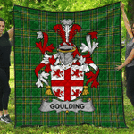 1sttheworld Premium Quilt - Goulding Or O'Goillin Irish Family Crest Quilt - Irish National Tartan A7