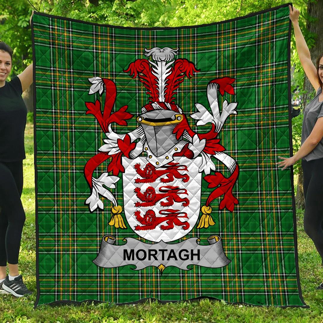 1sttheworld Premium Quilt - Mortagh Or O'Mortagh Irish Family Crest Quilt - Irish National Tartan A7