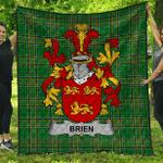 1sttheworld Premium Quilt - Brien Or Bryan Irish Family Crest Quilt - Irish National Tartan A7