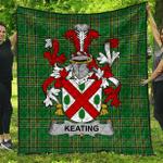 1sttheworld Premium Quilt - Keating Or O'Keaty Irish Family Crest Quilt - Irish National Tartan A7