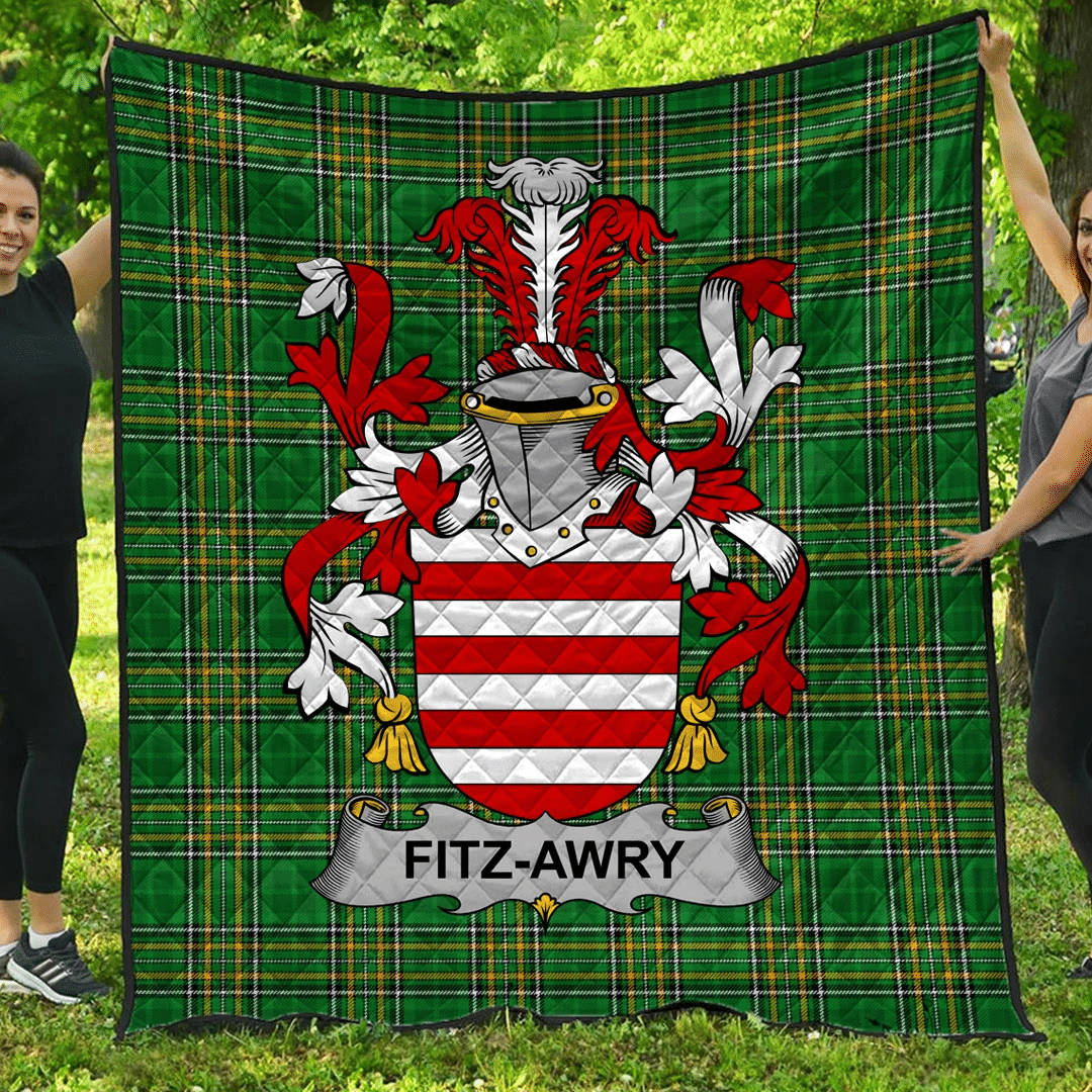 1sttheworld Premium Quilt - Fitz-Awry Irish Family Crest Quilt - Irish National Tartan A7