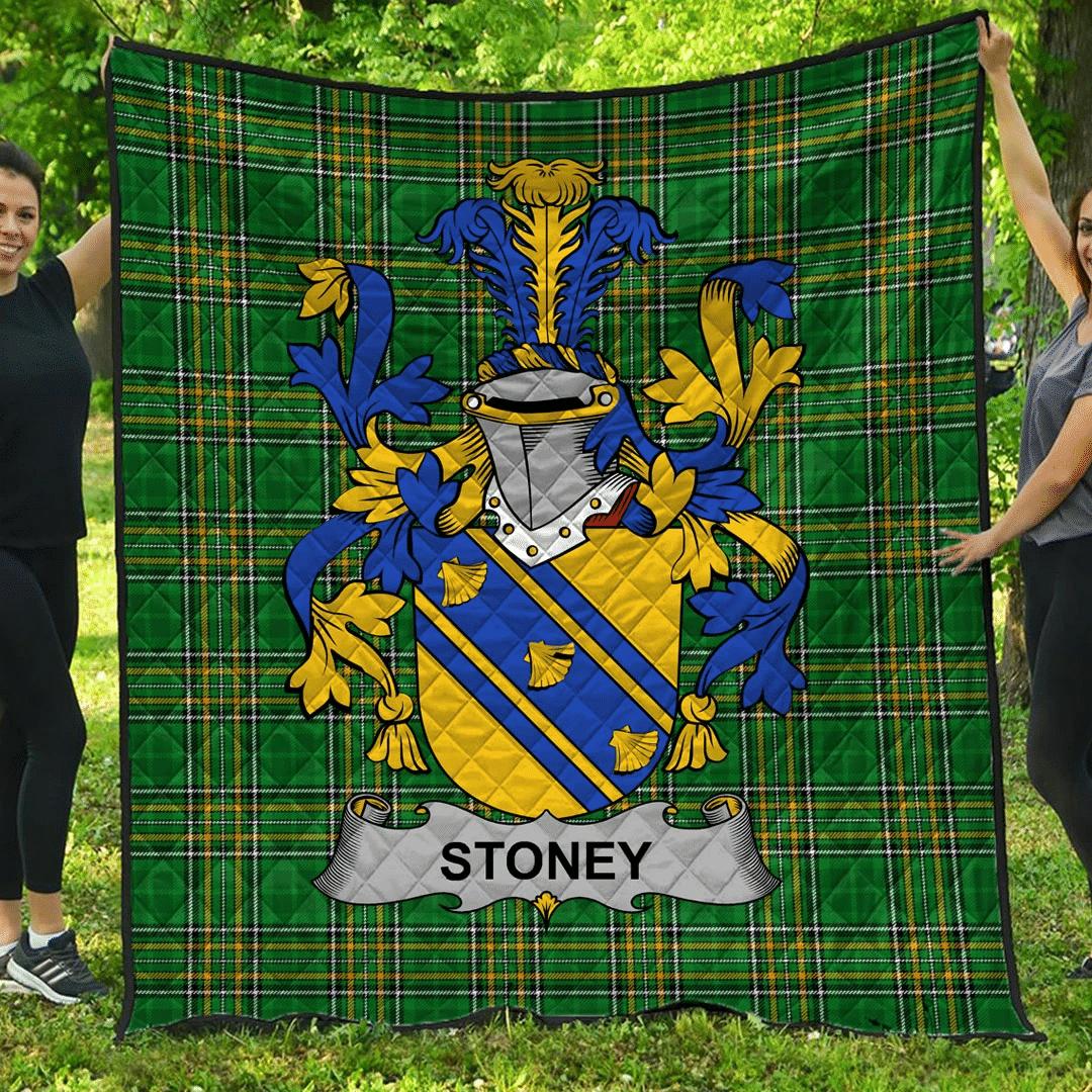 1sttheworld Premium Quilt - Stoney Irish Family Crest Quilt - Irish National Tartan A7