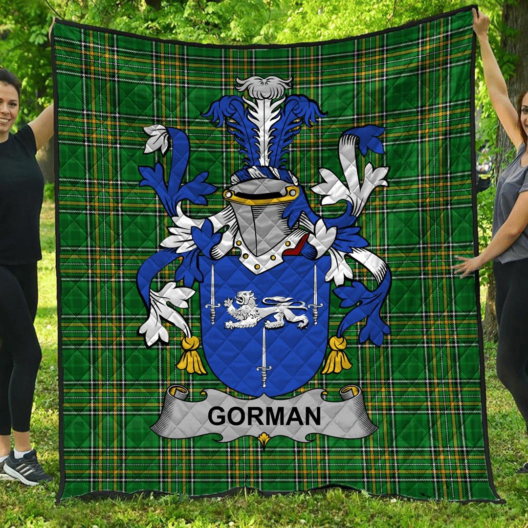 1sttheworld Premium Quilt - Gorman Or Mcgorman Irish Family Crest Quilt - Irish National Tartan A7