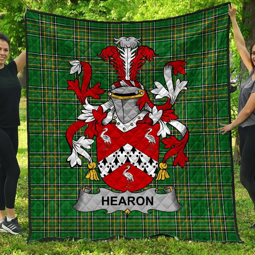 1sttheworld Premium Quilt - Hearon Or Hearn Irish Family Crest Quilt - Irish National Tartan A7