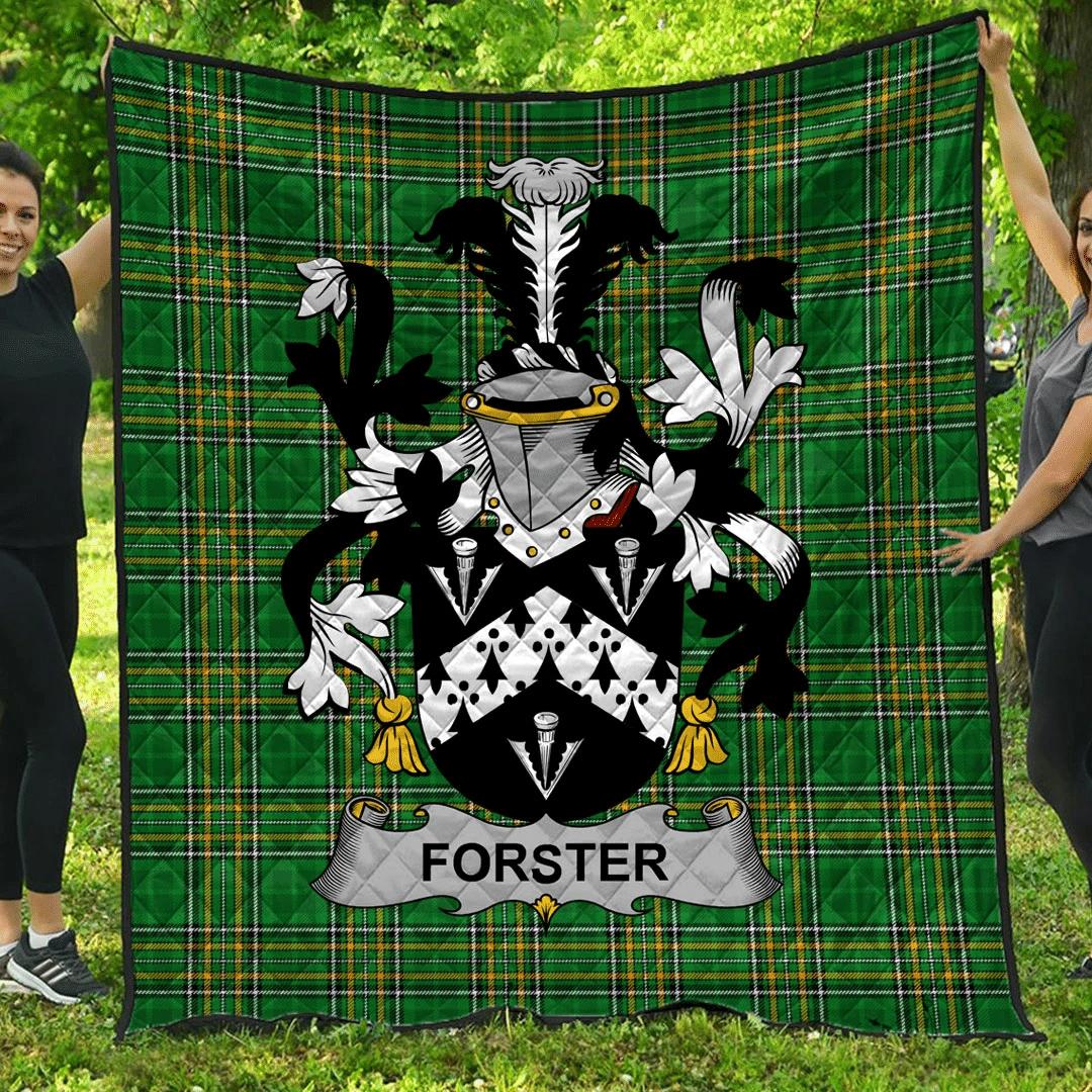 1sttheworld Premium Quilt - Forster Irish Family Crest Quilt - Irish National Tartan A7