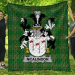 1sttheworld Premium Quilt - Mcalindon Or Mcalindem Irish Family Crest Quilt - Irish National Tartan A7