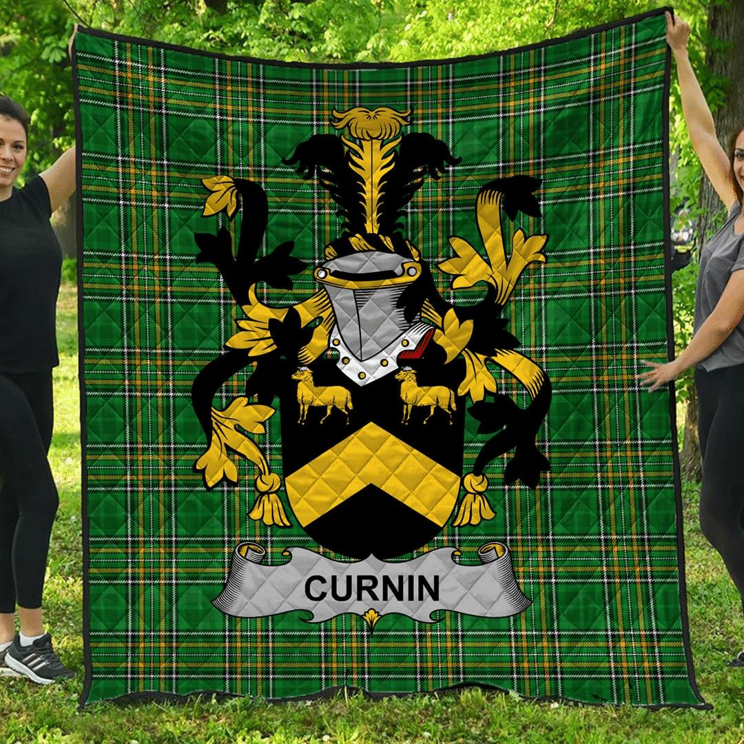 1sttheworld Premium Quilt - Curnin Or O'Curneen Irish Family Crest Quilt - Irish National Tartan A7