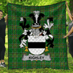 1sttheworld Premium Quilt - Kighley Irish Family Crest Quilt - Irish National Tartan A7