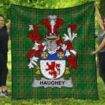 1sttheworld Premium Quilt - Haugher Or O'Haffey Irish Family Crest Quilt - Irish National Tartan A7