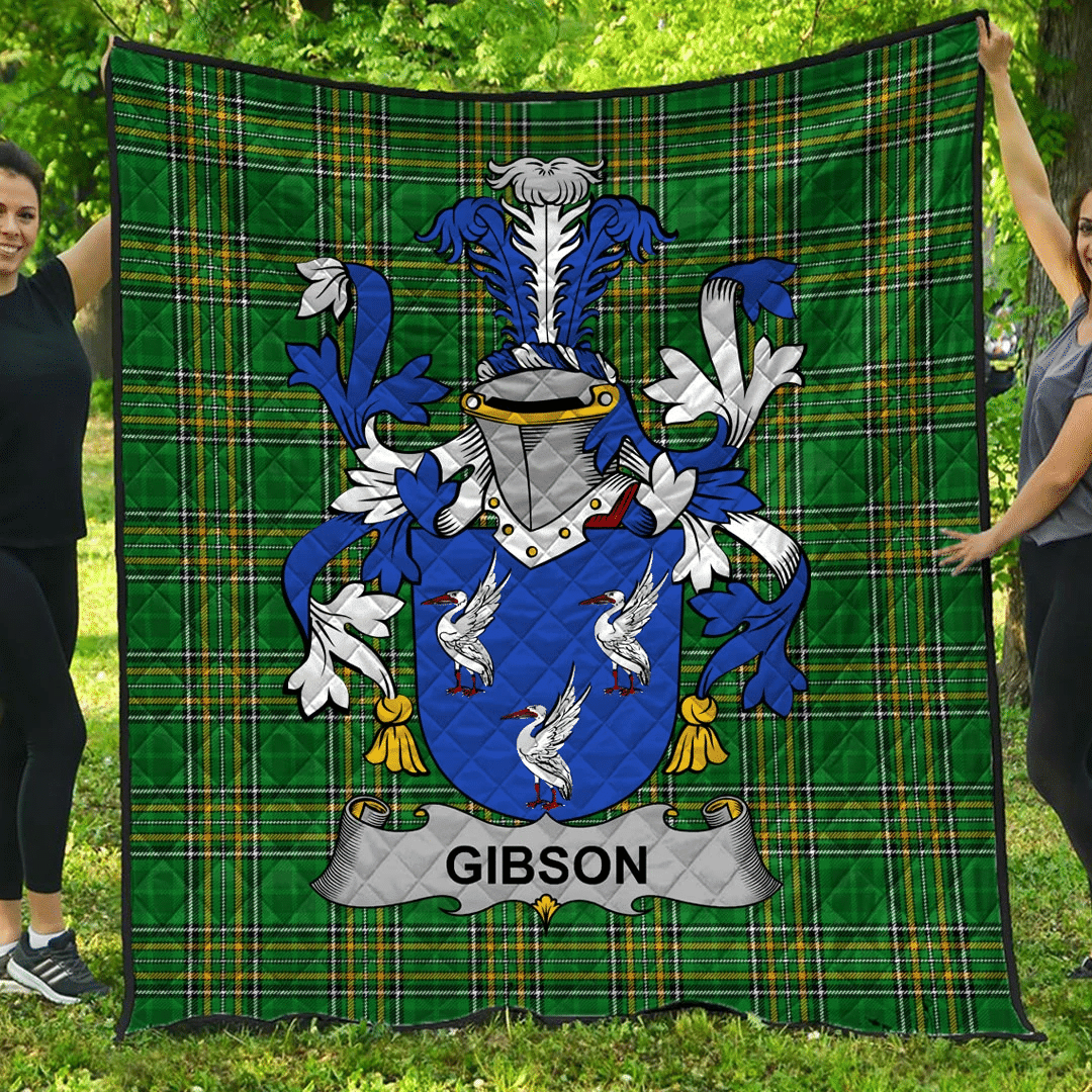 1sttheworld Premium Quilt - Gibson Irish Family Crest Quilt - Irish National Tartan A7