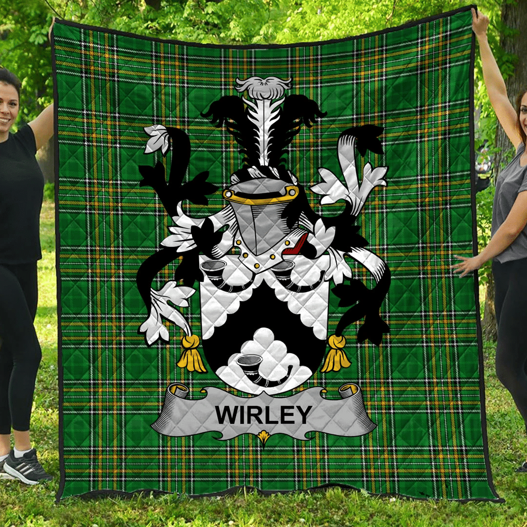 1sttheworld Premium Quilt - Wirley Irish Family Crest Quilt - Irish National Tartan A7