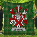 1sttheworld Premium Quilt - Desmond Irish Family Crest Quilt - Irish National Tartan A7