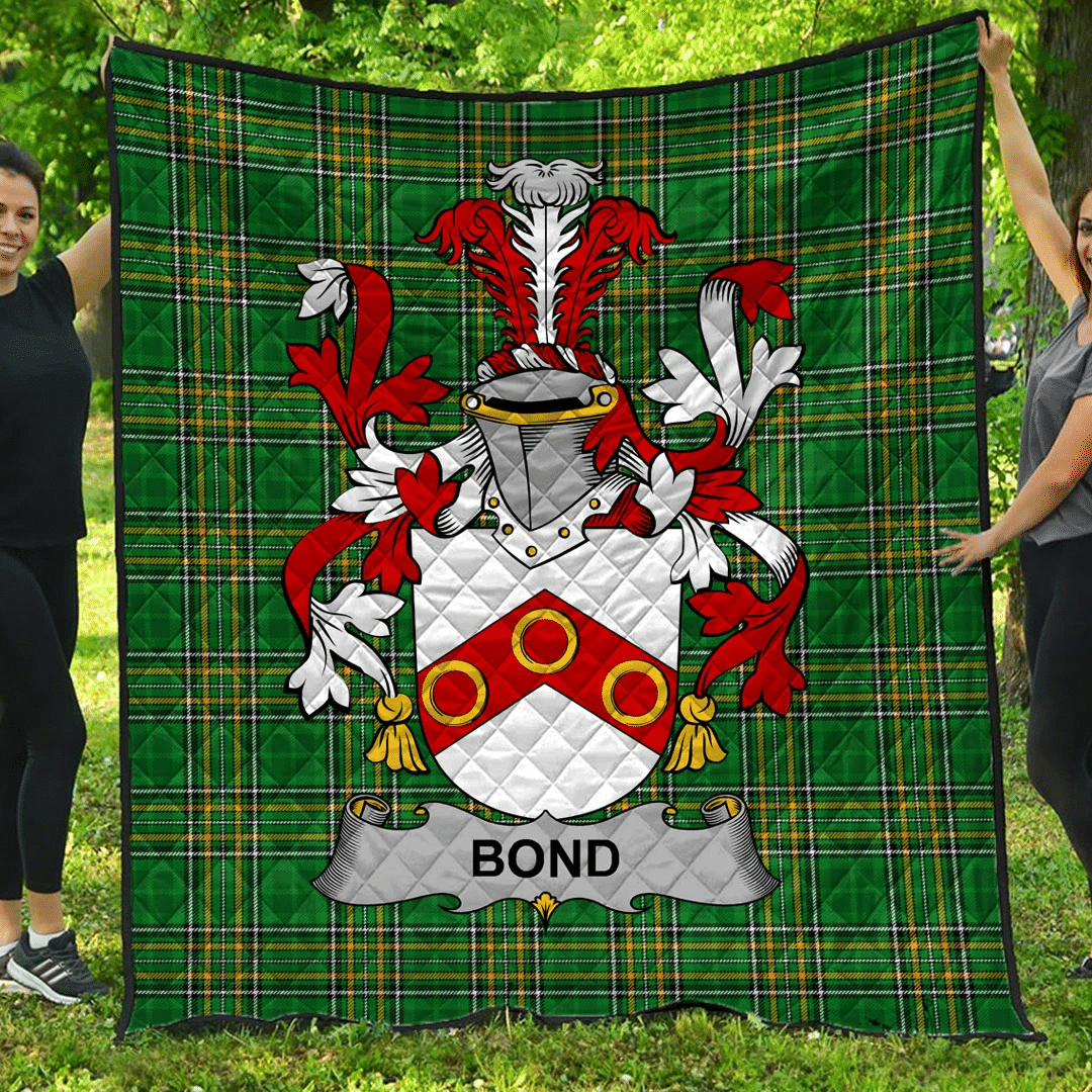 1sttheworld Premium Quilt - Bond Irish Family Crest Quilt - Irish National Tartan A7
