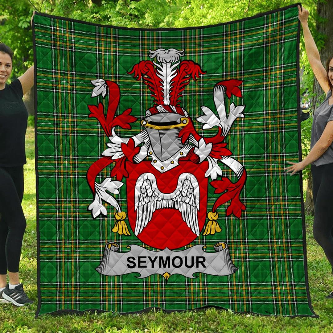 1sttheworld Premium Quilt - Seymour Irish Family Crest Quilt - Irish National Tartan A7