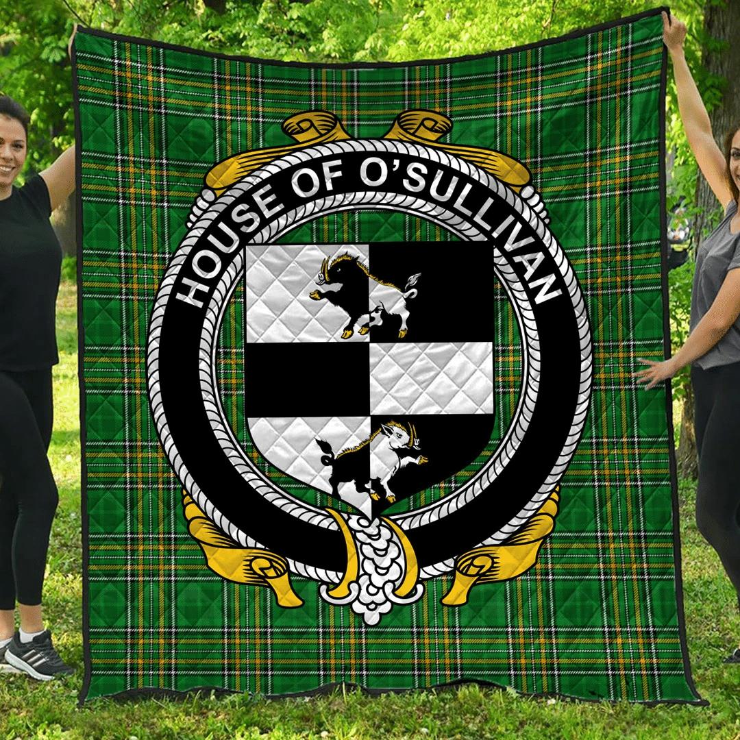 1sttheworld Premium Quilt - House Of O'Sullivan Irish Family Crest Quilt - Irish National Tartan A7