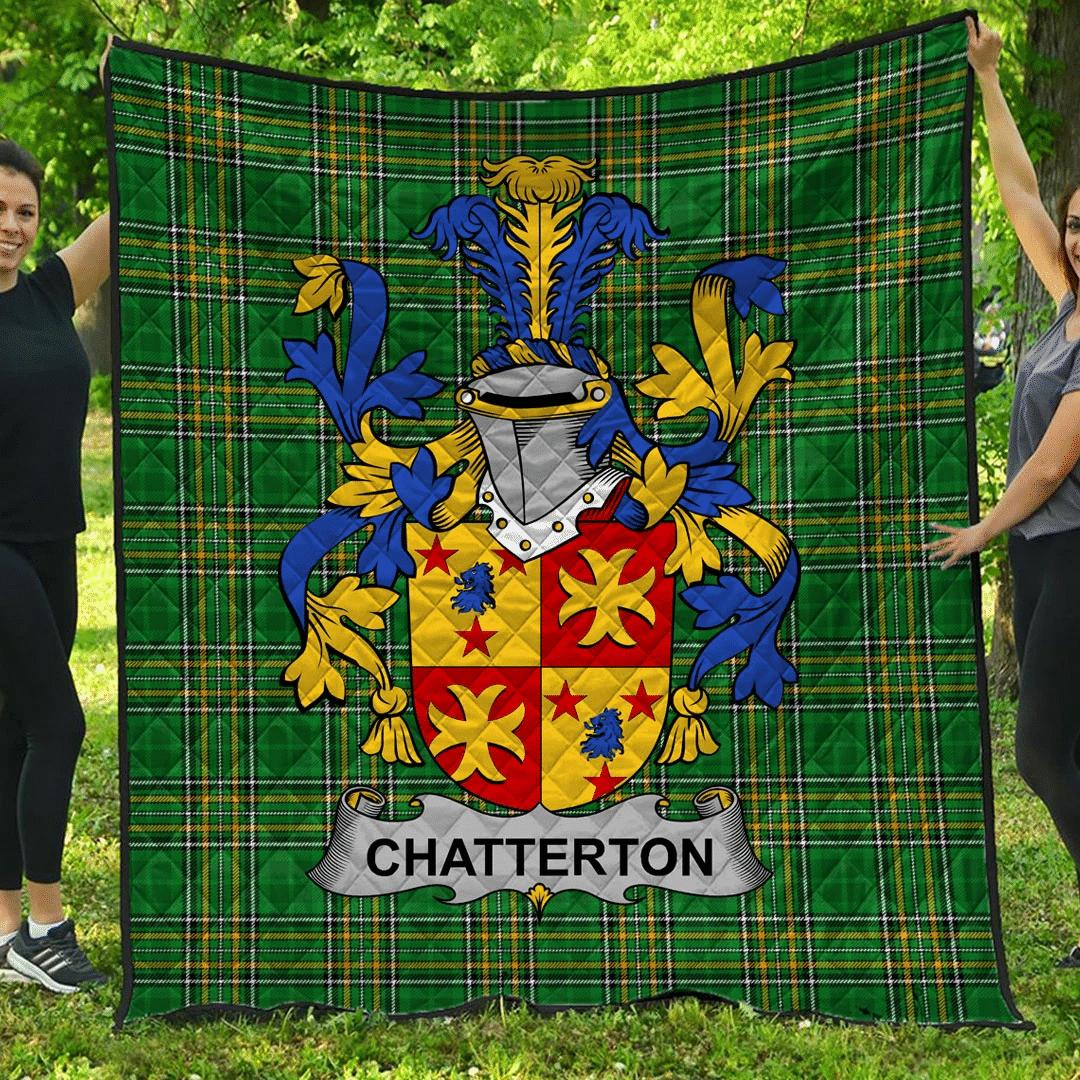 1sttheworld Premium Quilt - Chatterton Irish Family Crest Quilt - Irish National Tartan A7