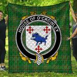 1sttheworld Premium Quilt - House Of O'Crowley Irish Family Crest Quilt - Irish National Tartan A7