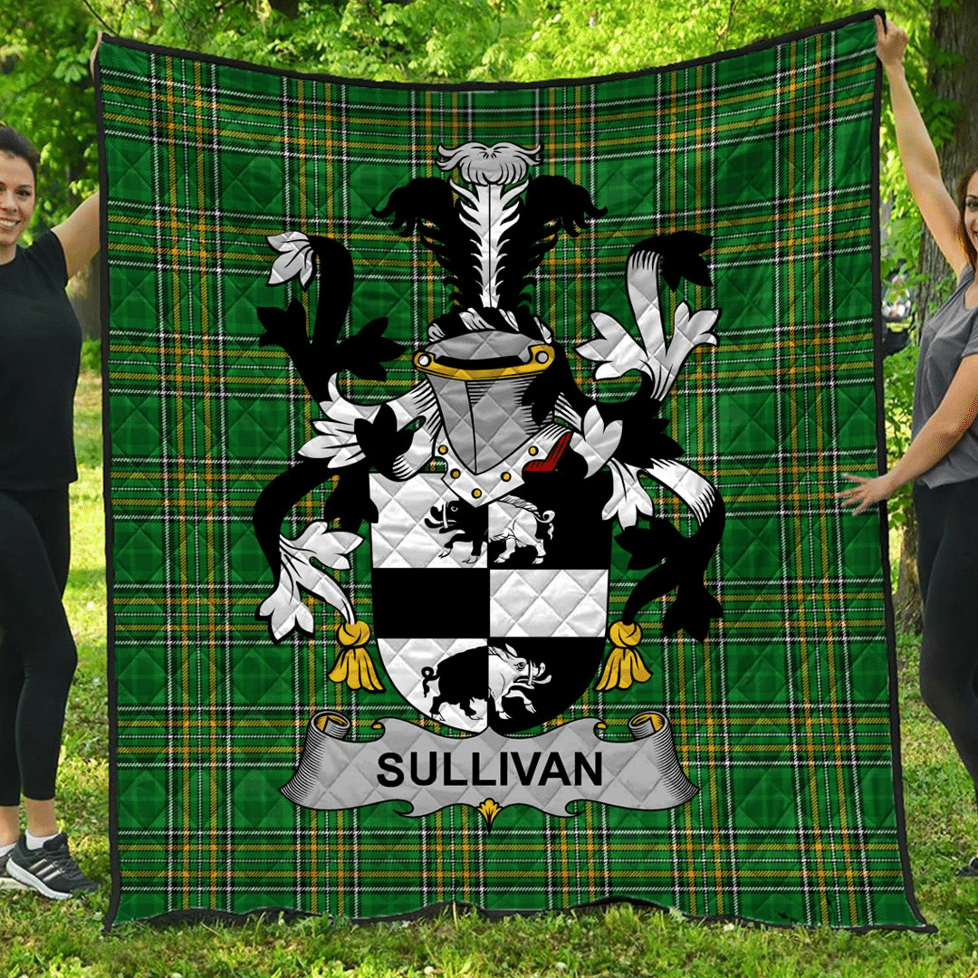 1sttheworld Premium Quilt - Sullivan Or O'Sullivan Irish Family Crest Quilt - Irish National Tartan A7