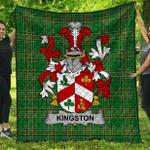 1sttheworld Premium Quilt - Kingston Irish Family Crest Quilt - Irish National Tartan A7
